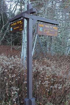 trail sign at the catskill mountain house site
